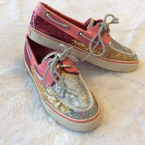 Sperry Top Sider Boat Shoes 5.5 Sequin Silver Pink